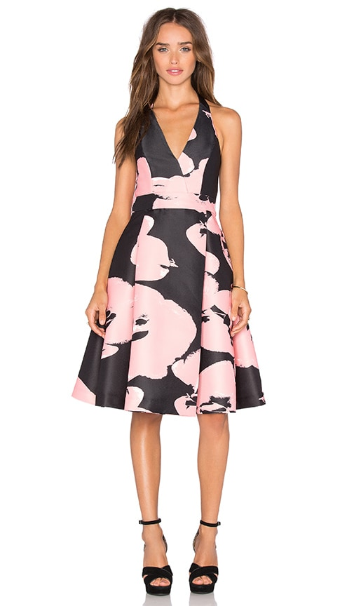 Halston Heritage Halter Floral Dress in Black & Parait Abstract Orchid
