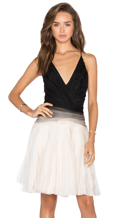 Halston Heritage Ombre Pleated Dress in Black