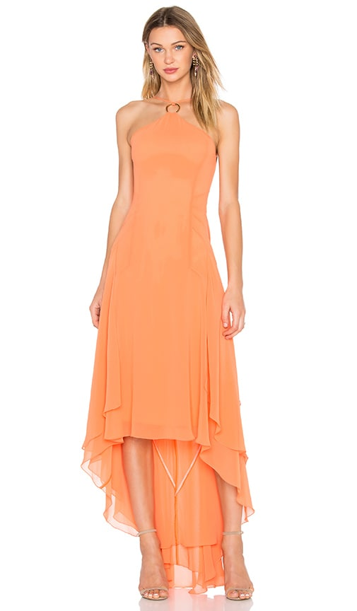 Halston Heritage Halter High Low Dress in Orange