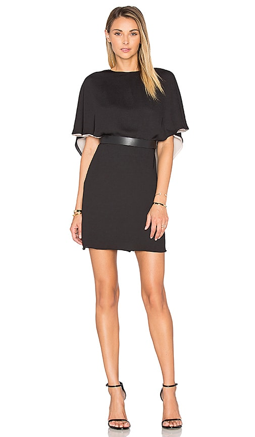 Halston Heritage Flowy Sleeve Colorblock Caftan Dress in Black