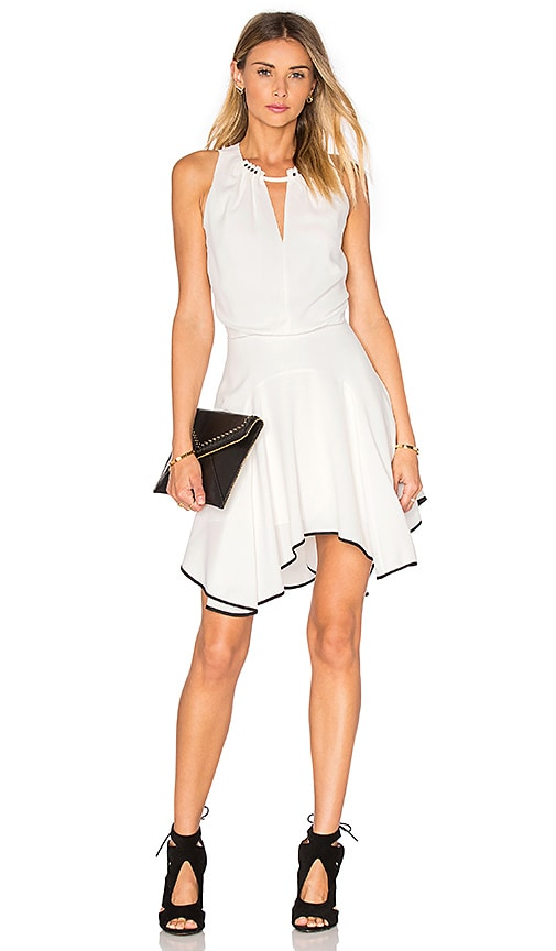 Halston Heritage Key Hole Flounce Tank Dress in Chalk & Black