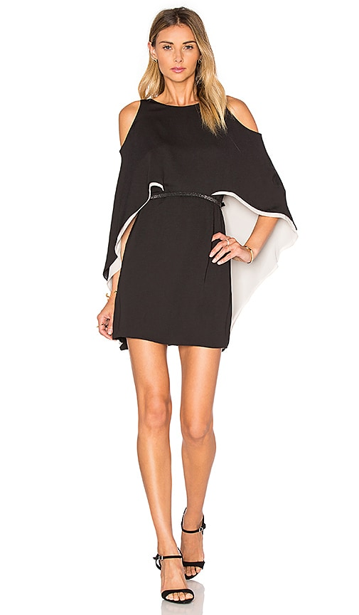 Halston Heritage Cape Sleeve Flowy Dress in Black & White