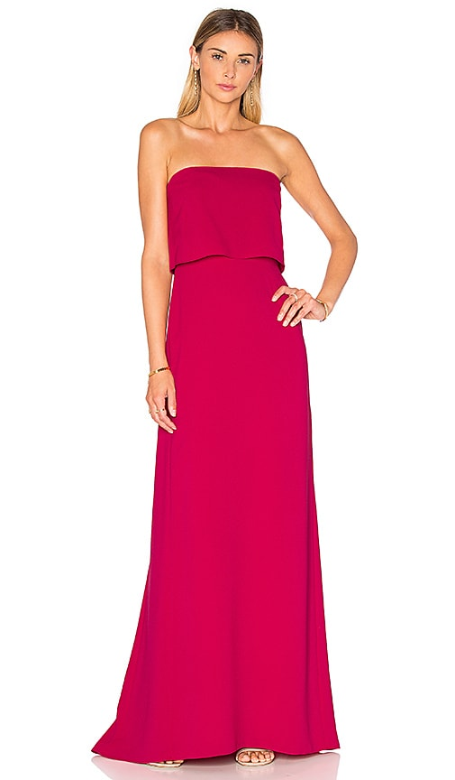 Halston Heritage Strapless Tiered Gown in Fuchsia