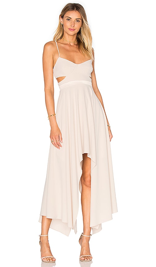 Halston Heritage Hi Low Asymmetric Dress in Beige