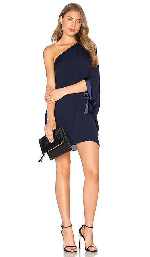 Halston Heritage Asymmetrical Sleeve Mini Dress in Navy