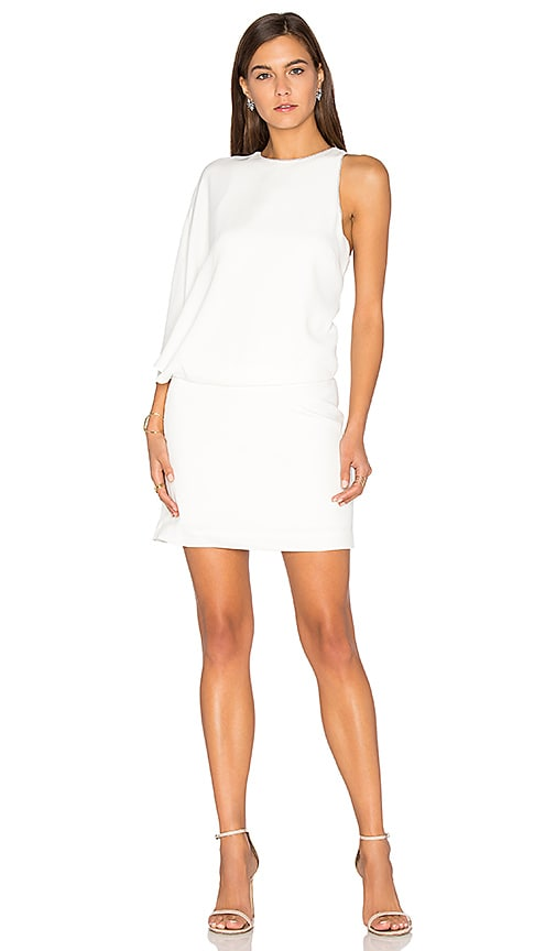 Halston Heritage Asymmetrical Mini Dress in White