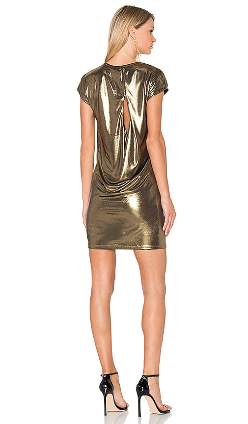 Halston Heritage Foil Jersey Dress in Metallic Bronze