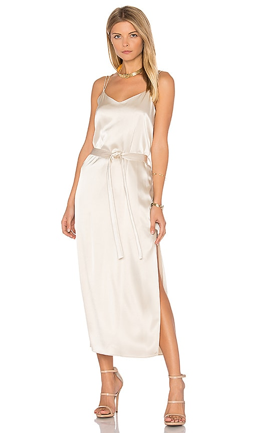 Halston Heritage Satin Cami Slip Dress in Metallic Neutral