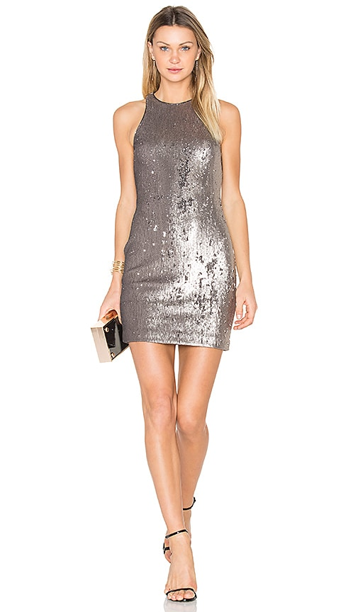 Halston Heritage Sequined Dress in Metallic Silver