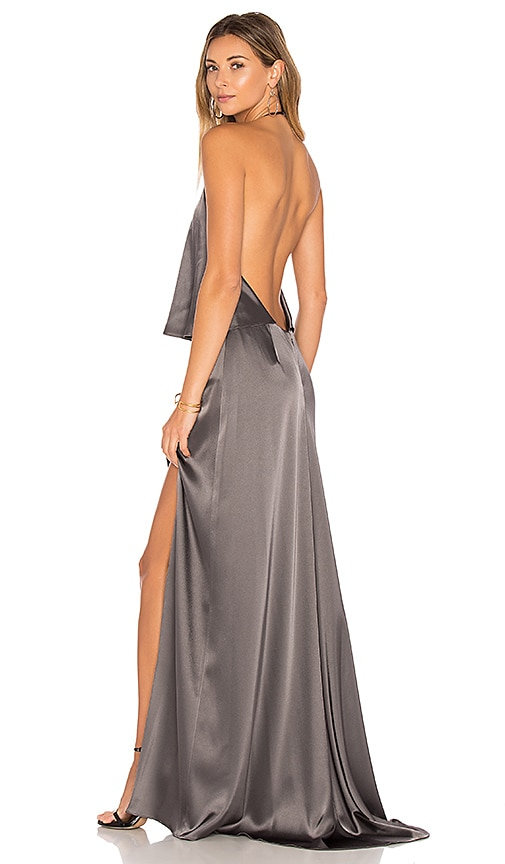 Halston Heritage Halter Low Back Dress in Gray