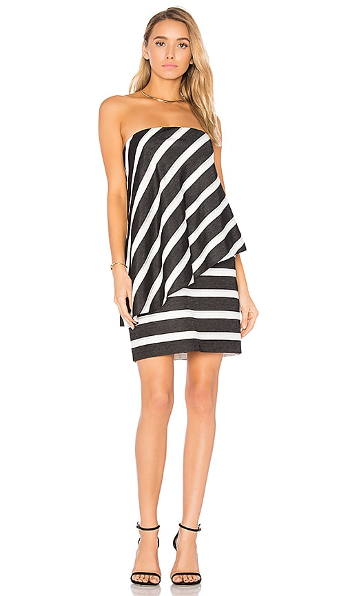 Halston Heritage Strapless Tiered Drape Stripe Dress in Black & White