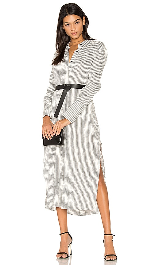 Halston Heritage Pinstripe Maxi Shirt Dress in White
