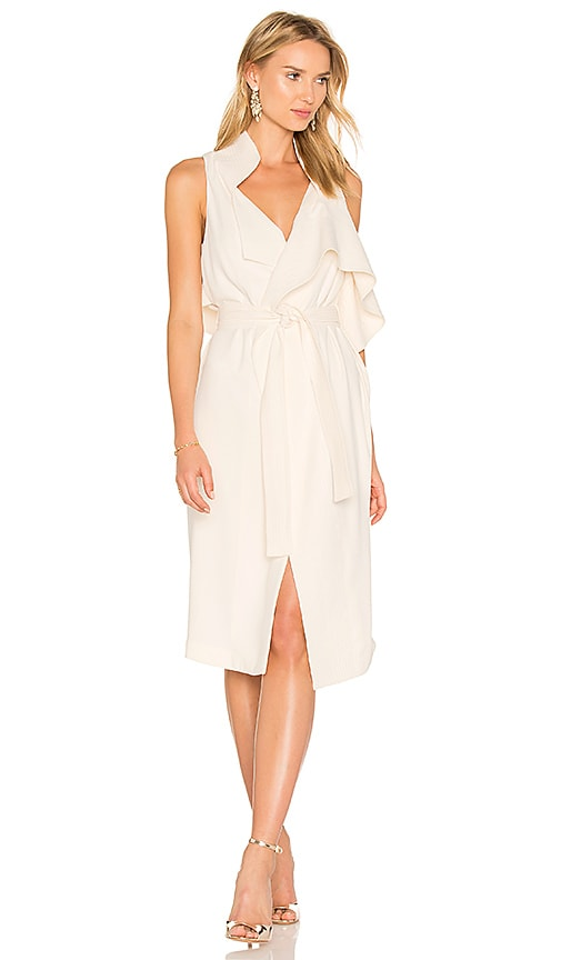 Halston Heritage Draped Wrap Dress in Beige