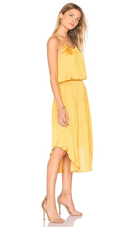 Halston Heritage Shirred Midi Dress in Yellow