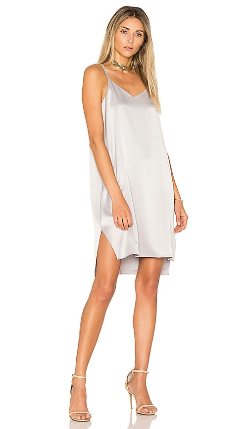 Halston Heritage Slip Dress in Metallic Silver
