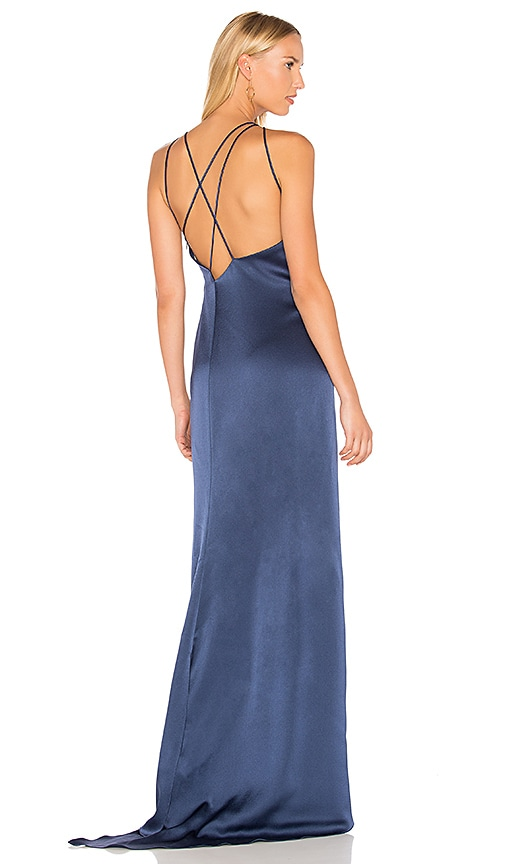 a0b15c02e24 Halston Heritage High Neck Gown With Back Drape in Navy