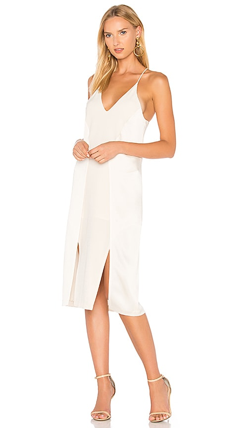 Halston Heritage V Neck Slip Dress With Back Cut Outs in Cream