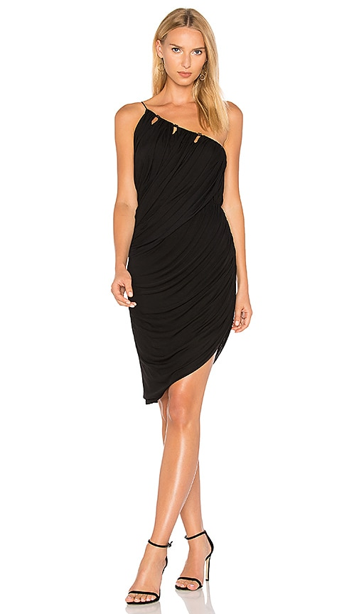 Halston Heritage One Shoulder Draped Dress in Black