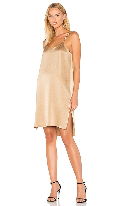 Halston Heritage Slip Dress in Metallic Gold