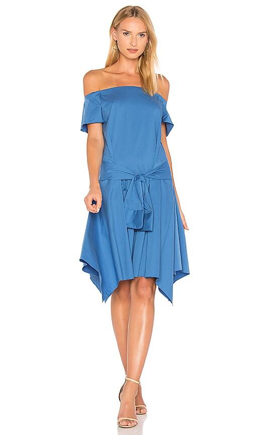Halston Heritage Off Shoulder Dress in Blue