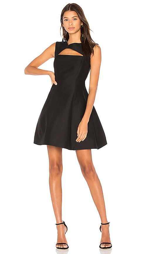 Halston Heritage Asymmetrical V Neck Dress in Black