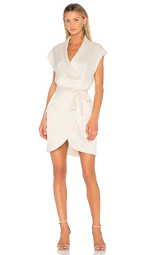Halston Heritage Cap Sleeve Shirt Dress in Cream