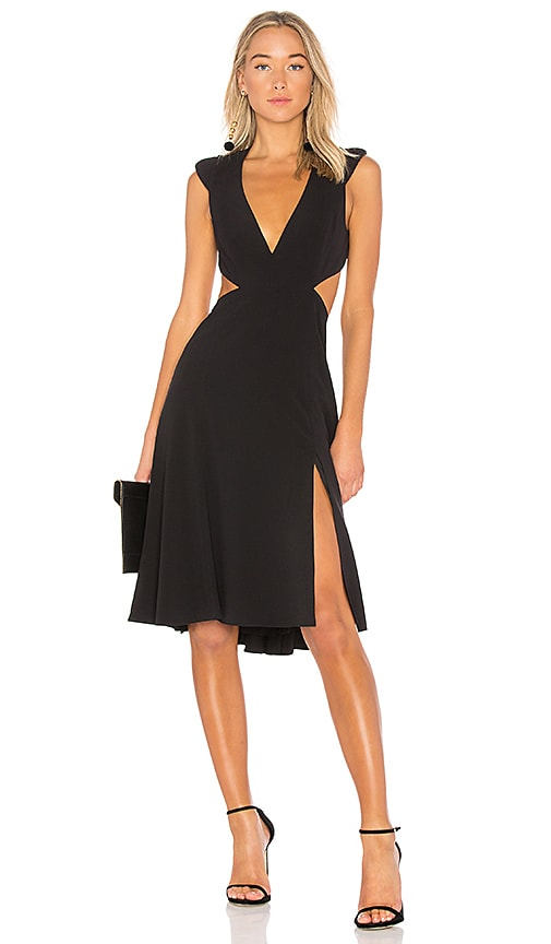 Halston Heritage V Neck Flowy Dress in Black