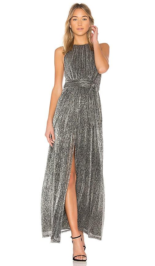 Halston Heritage High Neck Metallic Dress in Metallic Silver