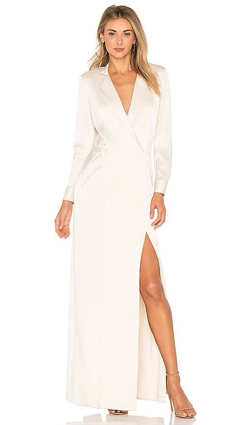 Halston Heritage Shirt Maxi Dress in Cream