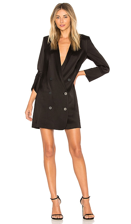 Halston Heritage Double Breasted Satin Shirtdress in Black
