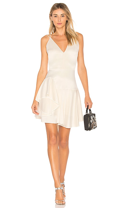 Halston Heritage Deep V Neck Cami Dress in Ivory