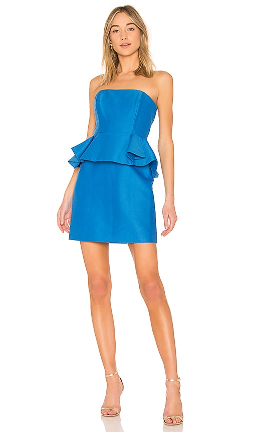 Halston Heritage Strapless Dress With Peplum in Blue