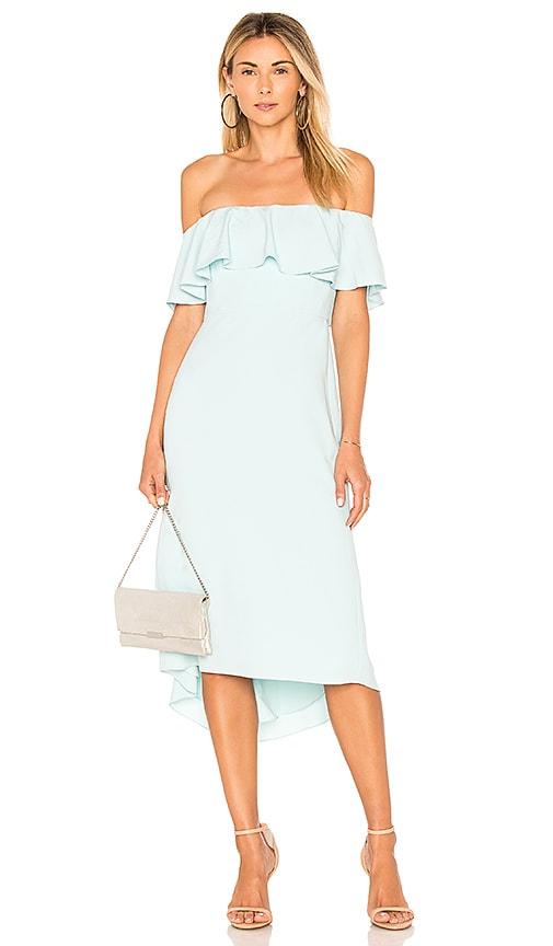 Halston Heritage Off Shoulder Flounce Detail Dress in Blue