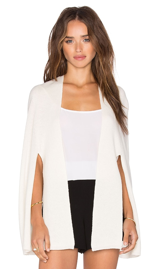 Halston Heritage Front Tie Poncho in Ivory