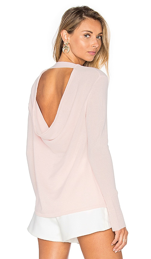 Halston Heritage Round Neck Cashmere Sweater in Blush