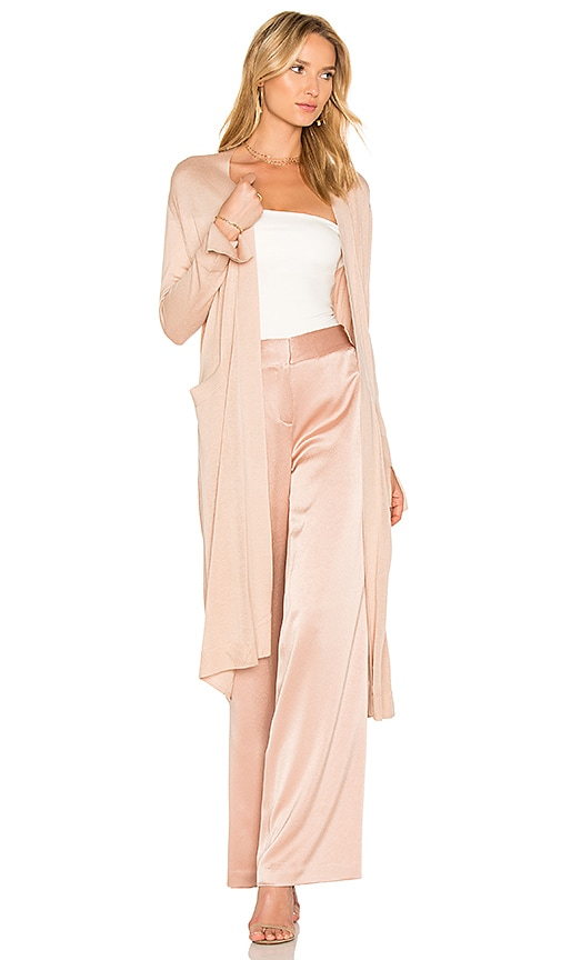 Halston Heritage Duster Cardigan With Sash in Beige
