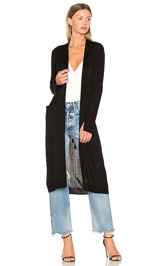 Halston Heritage Open Front Duster Cardigan in Black