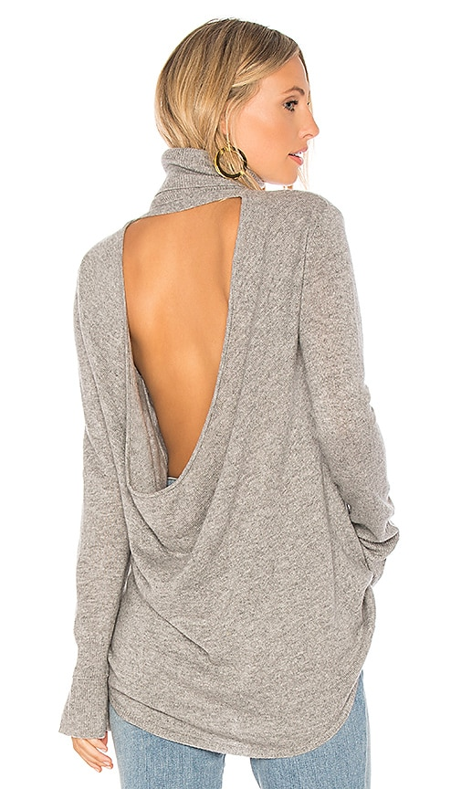 Halston Heritage Cowl Back Tunic Sweater in Gray