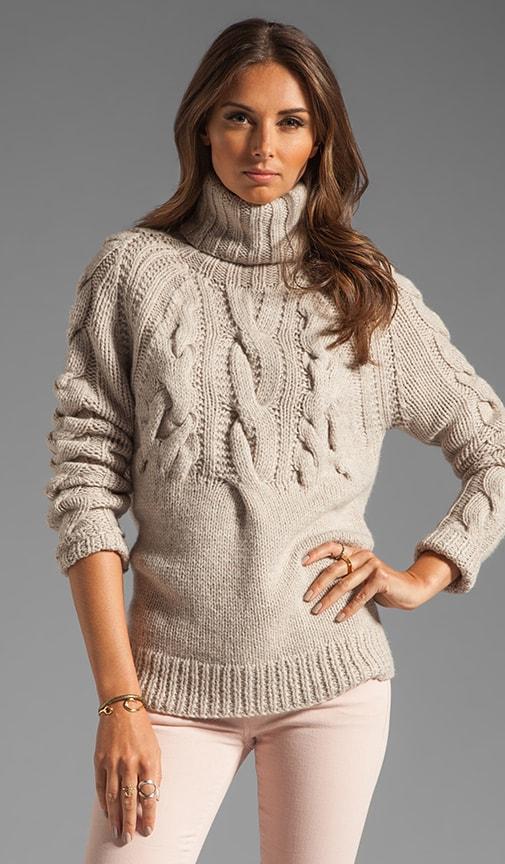LS Cable Rib Turtleneck Sweater