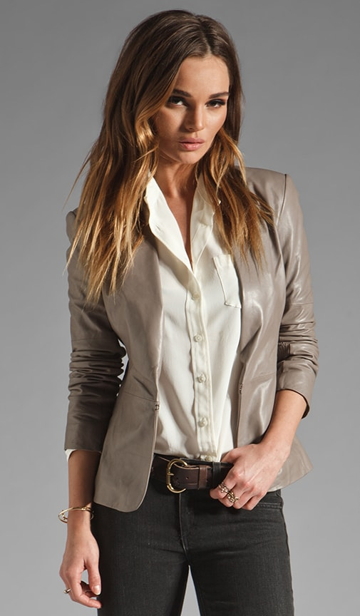 Long Sleeve Leather Blazer w/ Knit Detail
