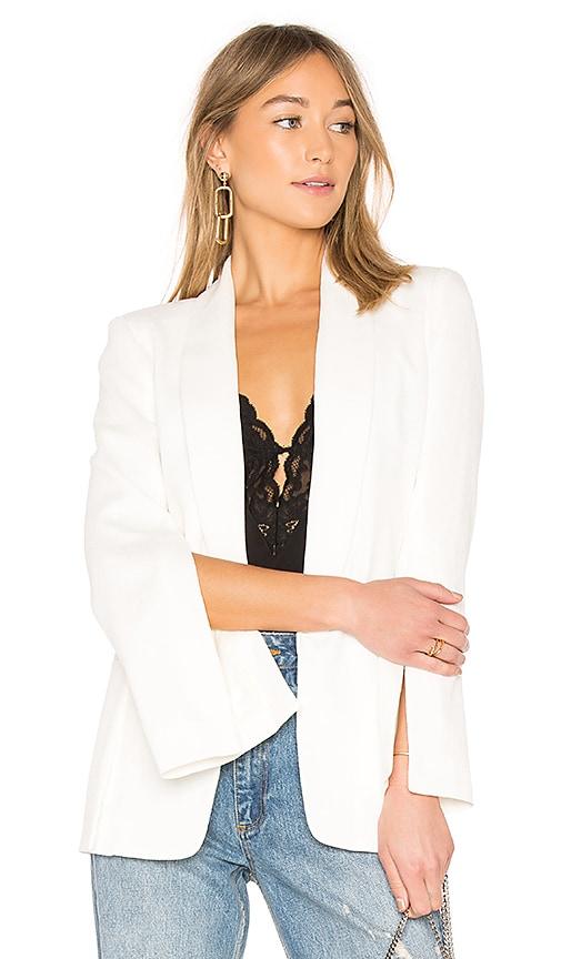 Halston Heritage Crinkle Crepe Blazer in White