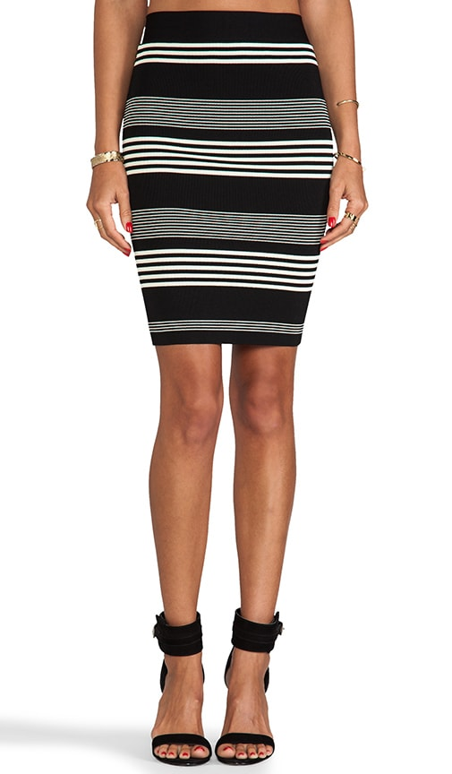 Striped Sweater Knit Pencil Skirt