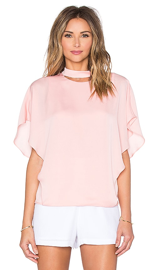 Halston Heritage Smock Neck Cut Out Top in Pink
