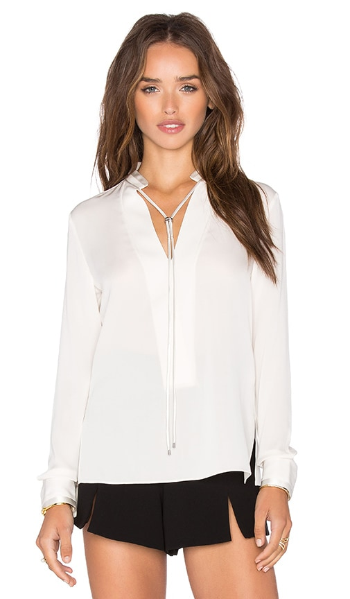 Halston Heritage V Neck Cord tie Blouse in Eggshell