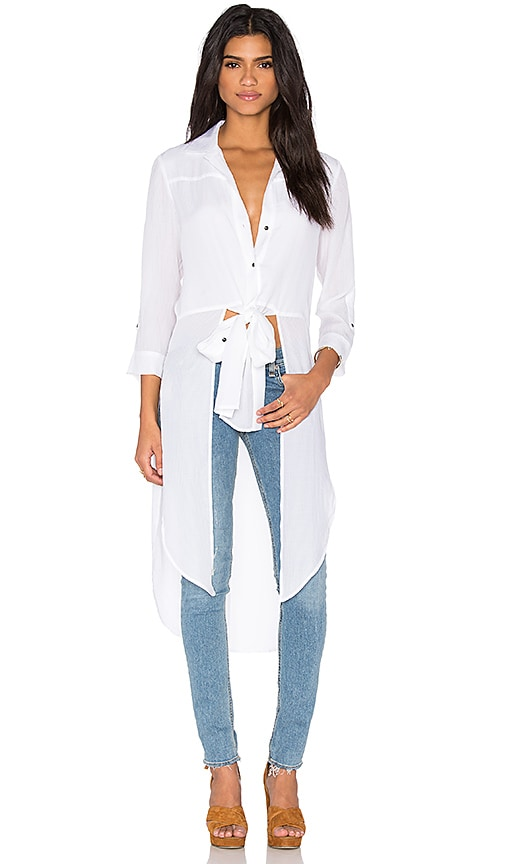 Halston Heritage Button Up Front Tie Top in White