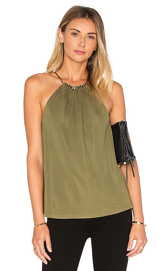 Halston Heritage Beaded Shirred Tank in Green