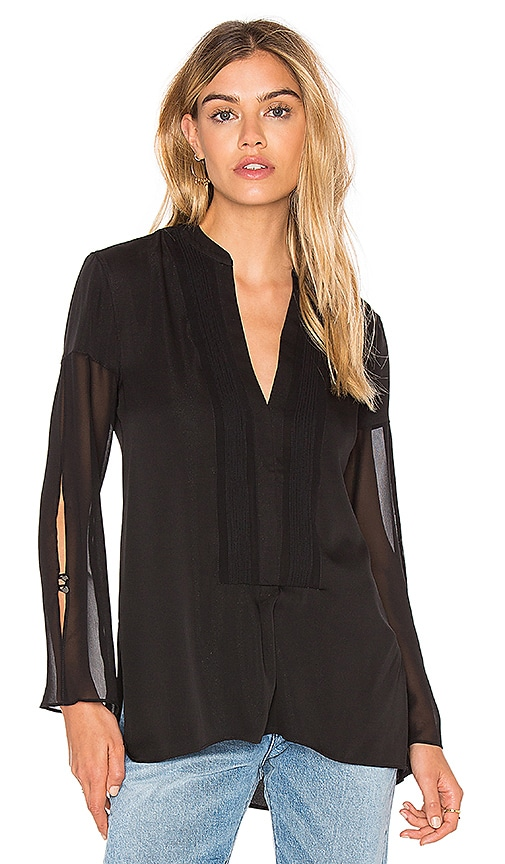 Deep V Sheer Sleeve Top