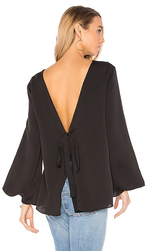 Halston Heritage Deep V Back Top in Black