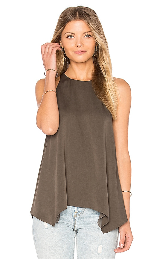 Halston Heritage High Neck Cami in Dark Green