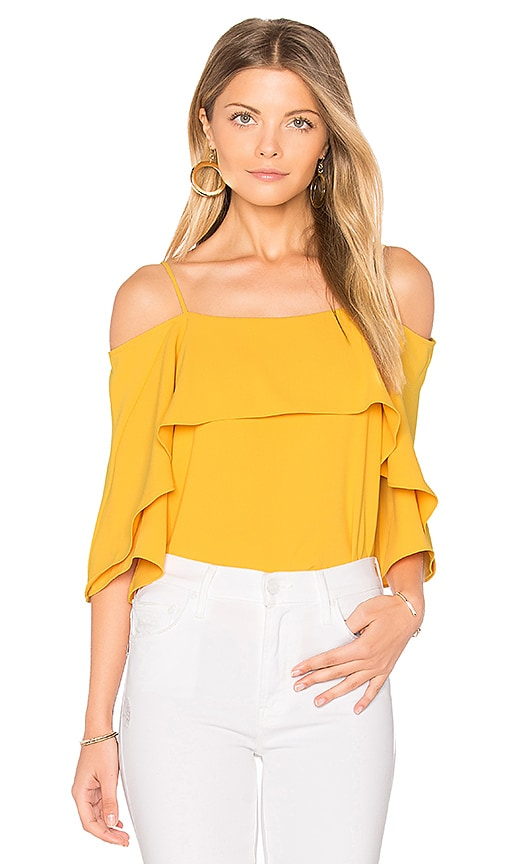Halston Heritage Cold Shoulder Top in Yellow